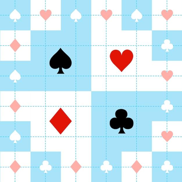 カードスーツブルーレッドホワイトチェスボードの背景 Premiumベクター