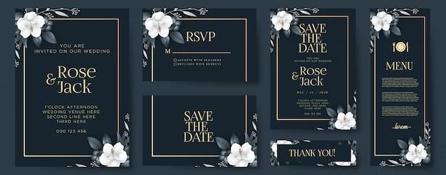Элегантное свадебное приглашение с украшениями Premium векторы