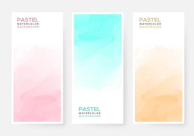 抽象的なカラフルなパステル水彩バナー Premiumベクター