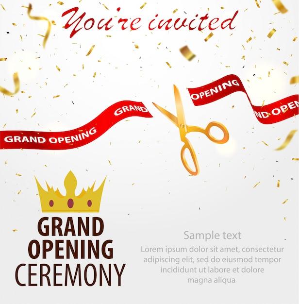 グランドオープン招待状カードのテンプレート Premiumベクター