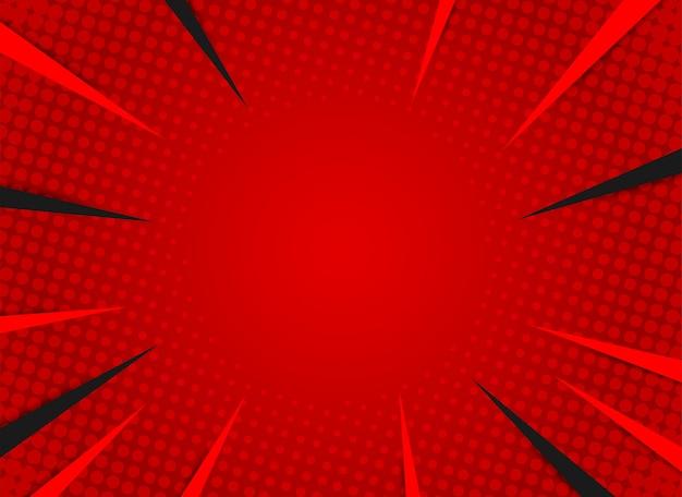 レトロな光線漫画。赤のグラデーションハーフトーンの背景。ポップアートスタイル。 Premiumベクター