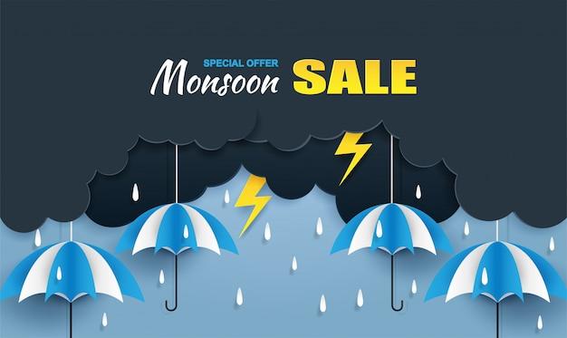 Муссон, дождливый сезон продажи баннера Premium векторы