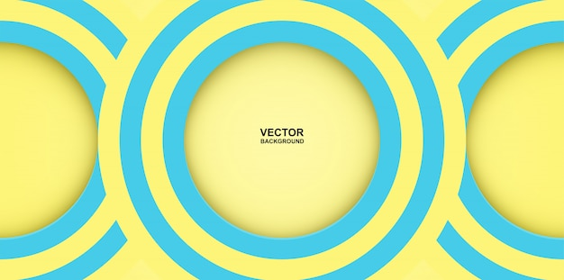 抽象。カラフルなパステル調の青、黄色の丸いミラージュ形は背景をオーバーラップします。光と影。 Premiumベクター