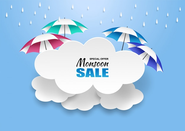 モンスーン、梅雨セールの背景。雲の雨と青い空に傘。 Premiumベクター