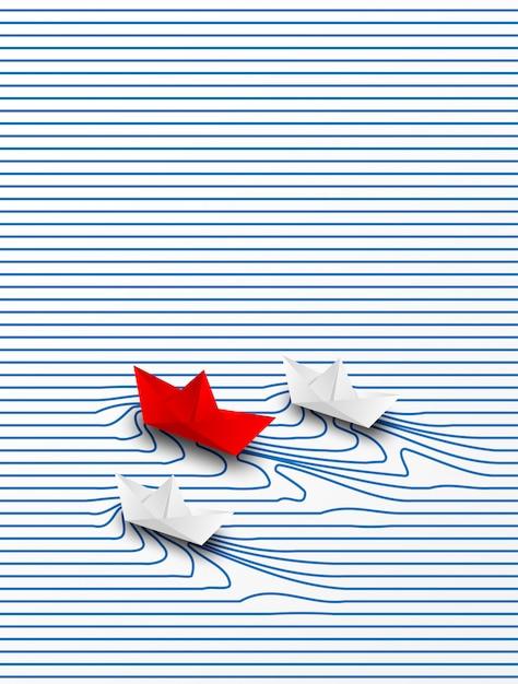 ビジネスのリーダーシップ、財務の概念成功への紙の船の赤のリーダーシップ。独創的なアイデア。 Premiumベクター