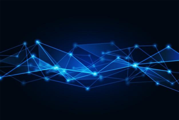 明るい青色の背景に接続されているドット Premiumベクター