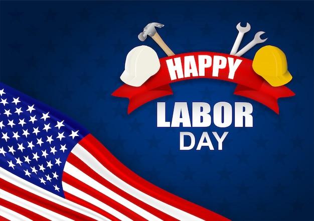 幸せな労働者の日アメリカ。ハンマー、安全ヘルメット、レンチ、アメリカ国旗を使ったデザイン Premiumベクター