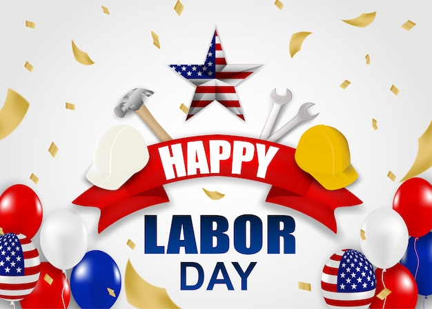 幸せな労働者の日アメリカ。ハンマー、安全ヘルメット、レンチ、風船、アメリカ国旗を使ったデザイン Premiumベクター