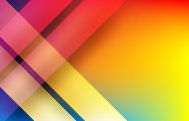 抽象。カラフルな幾何学的形状は背景を重複します。光と影。 Premiumベクター