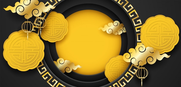 ハッピームーンケーキフェスティバル、中国中秋節。月餅と黒の背景に金色の雲をデザインします。 Premiumベクター