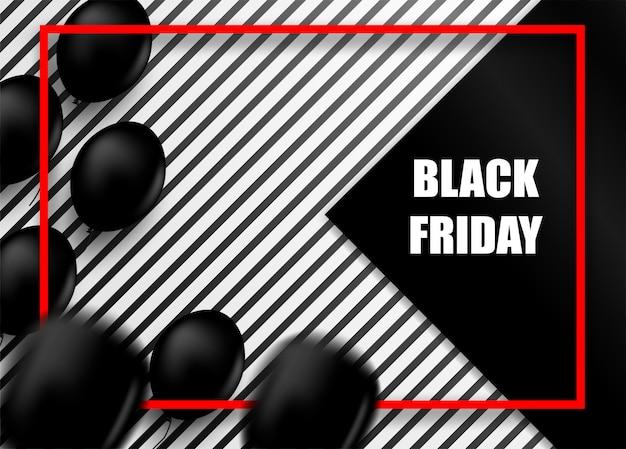 Черная пятница распродажа с воздушными шарами Premium векторы