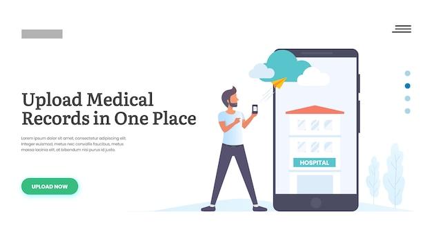 モバイルを使用して医療記録をアップロードする男 Premiumベクター