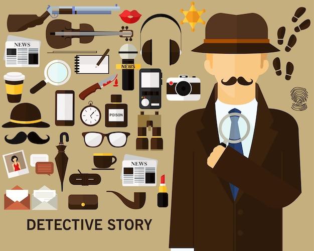 探偵物語のコンセプト背景。フラットアイコン。 Premiumベクター