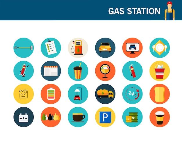 ガソリンスタンドコンセプトフラットアイコン。 Premiumベクター