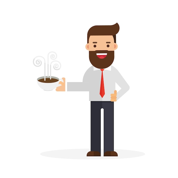 ビジネスマン、一杯、コーヒー Premiumベクター