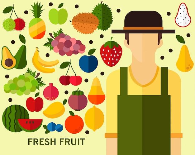 新鮮なフルーツコンセプトの背景 Premiumベクター
