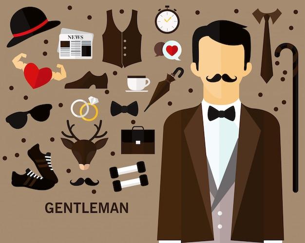 紳士のコンセプトの背景 Premiumベクター