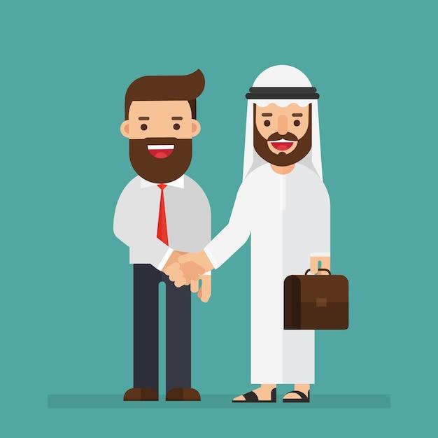 アラビア語、ビジネスマン、握手 Premiumベクター