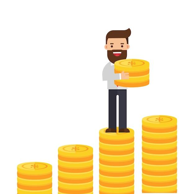 ビジネスマンはコインのスタックにコインを入れた Premiumベクター
