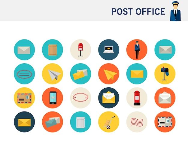 Почтовое отделение концепции плоские значки. Premium векторы