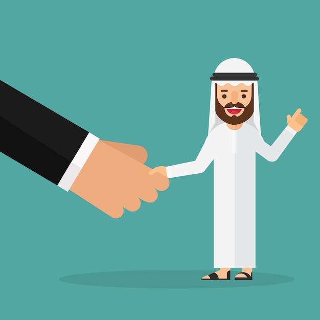大きな手を振るアラビア語のビジネスマン Premiumベクター