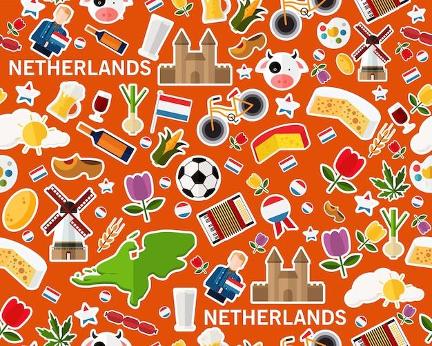 Векторные плоские бесшовные текстуры шаблон нидерланды Premium векторы