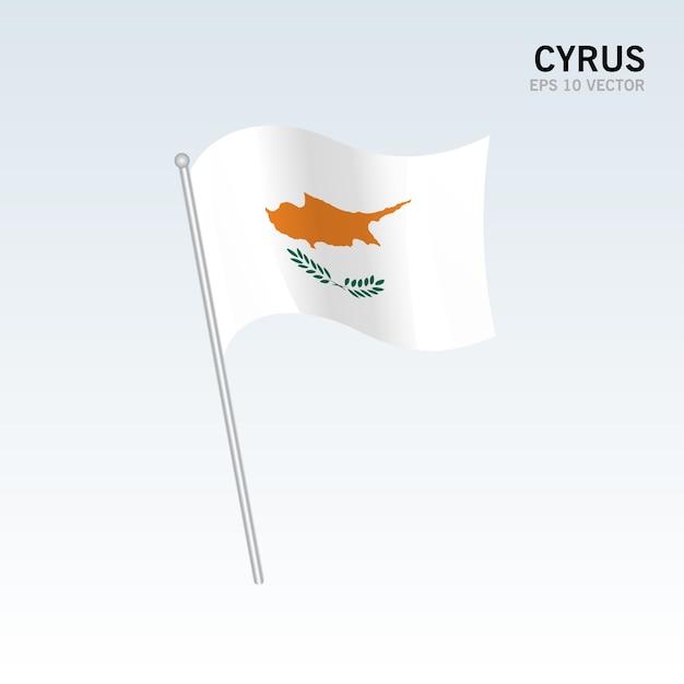 灰色の背景に孤立した灰色の旗 Premiumベクター