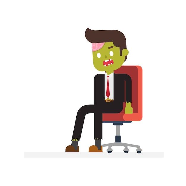 Офис зомби, сидящий в кресле Premium векторы