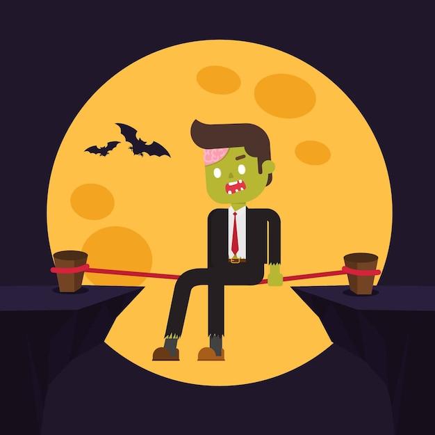 Зомби-офис, расслабьтесь в опасности Premium векторы