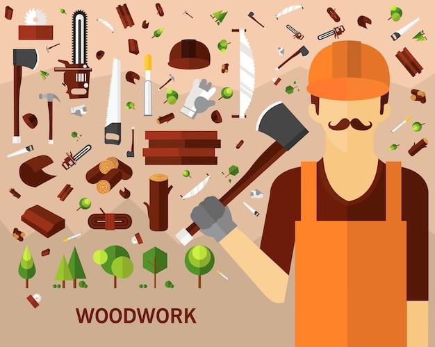 木工のコンセプト背景。フラットアイコン。 Premiumベクター