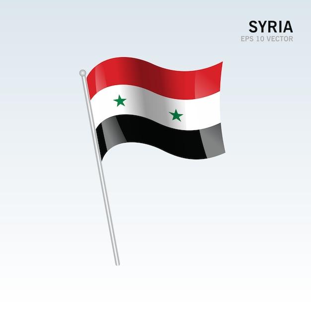 Сирия развевающийся флаг, изолированных на сером фоне Premium векторы