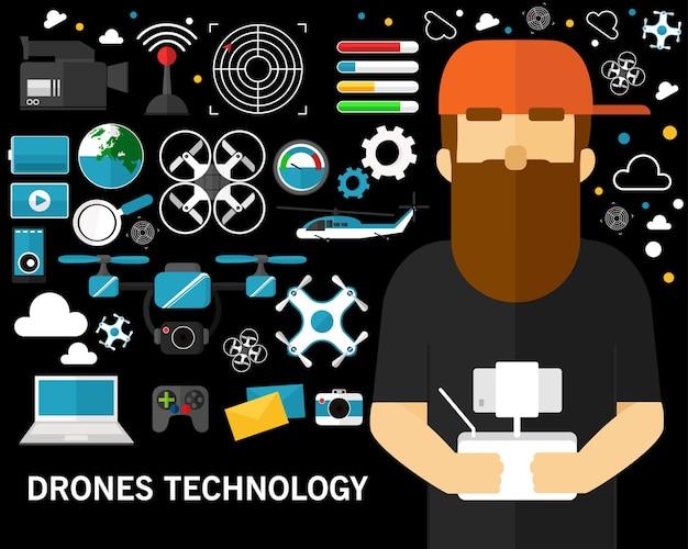 Концепция технологии технологий дронов. плоские иконки Premium векторы