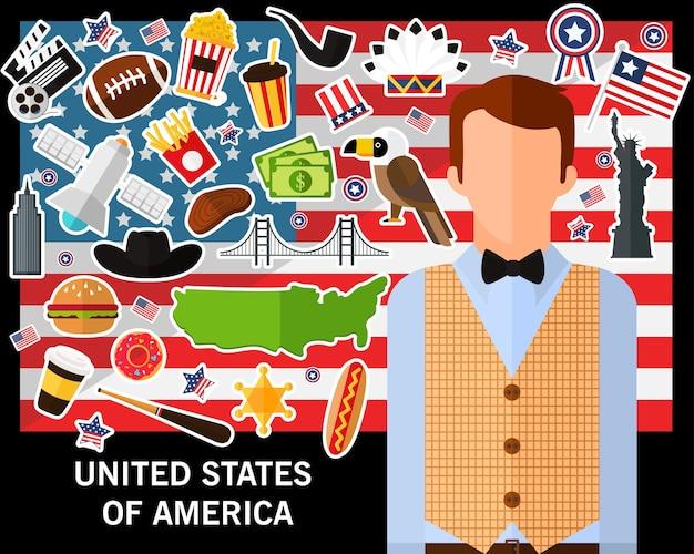 アメリカのコンセプト背景のアメリカ合衆国。フラットアイコン Premiumベクター