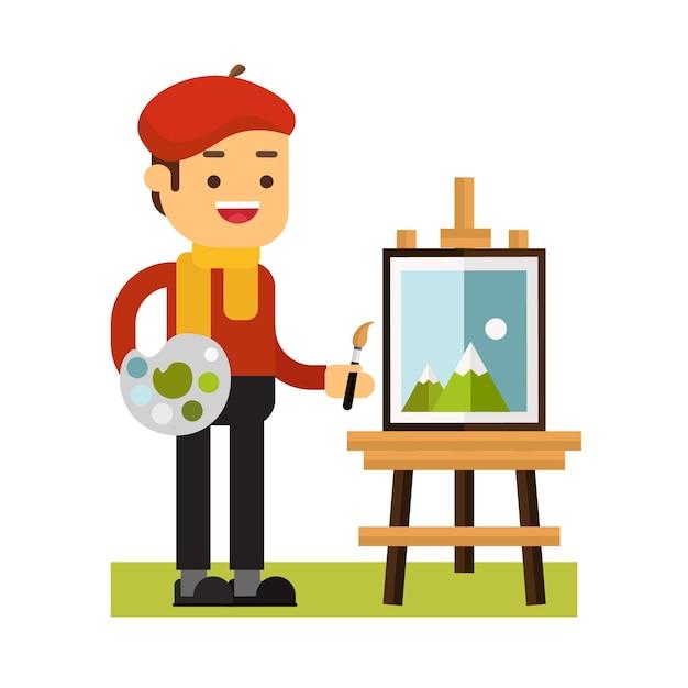 マンキャラクターアバターアイコン。アーティストは絵を描く Premiumベクター