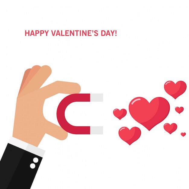 愛の魅力とバレンタインデーのカード Premiumベクター