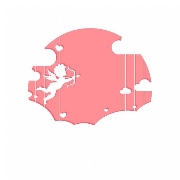 雲のキューピッドとかわいいバレンタインの日グリーティングカード Premiumベクター