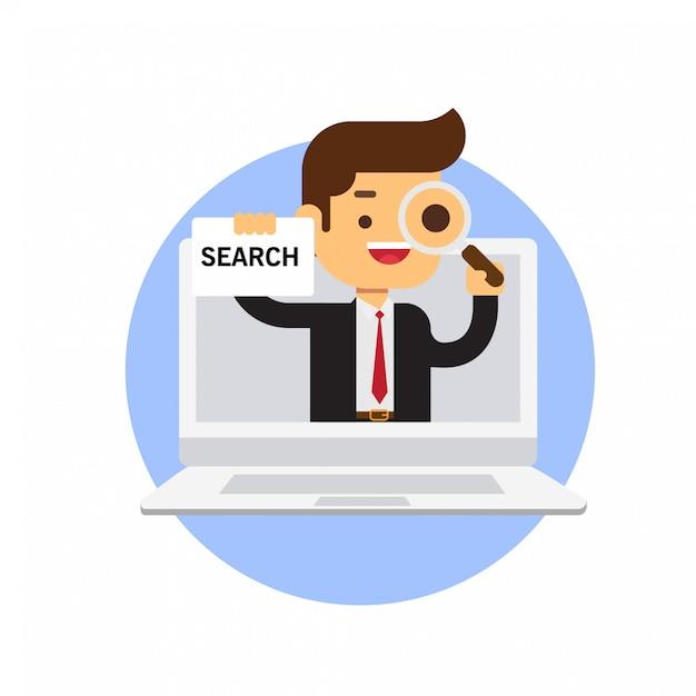 ビジネスマンのラップトップで検索記号を保持 Premiumベクター