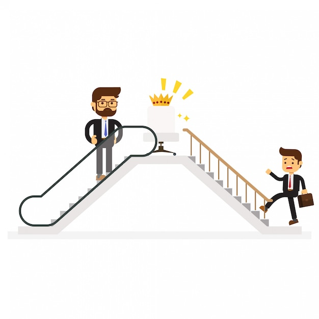 成功へのエスカレーターを使うビジネスマン Premiumベクター