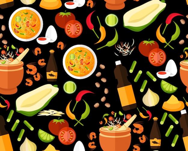 タイ料理のパターン Premiumベクター