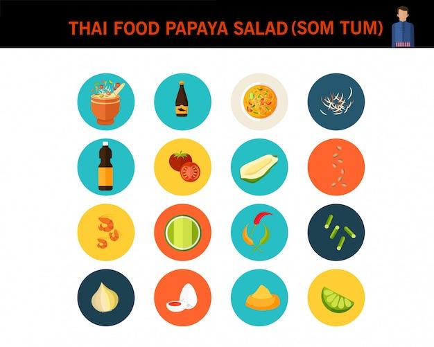タイ料理パパイヤサラダコンセプトフラットアイコン Premiumベクター