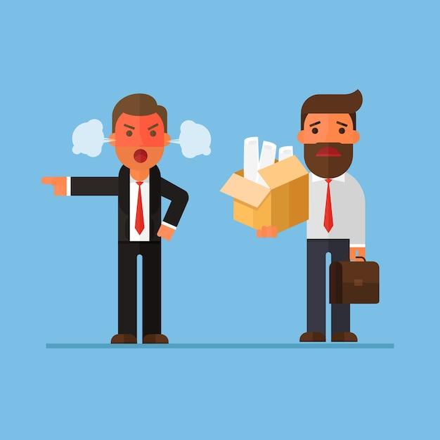Бизнесмен, уволенный боссом Premium векторы