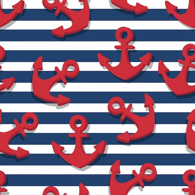 Бесшовный фон из красных якорей и синих полос военно-морского флота Premium векторы