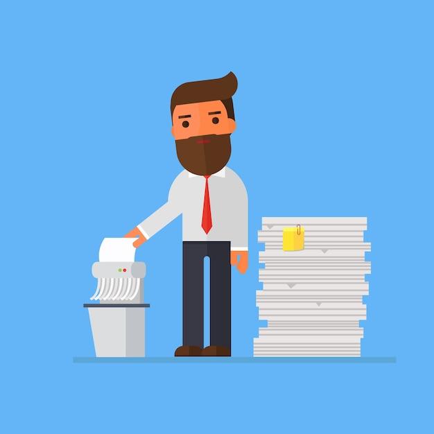 ビジネスマン、古いファイルを細断する Premiumベクター
