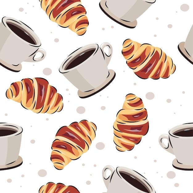 Кофе и круассан бесшовные модели. векторный фон для еды или дизайн кафе. Premium векторы