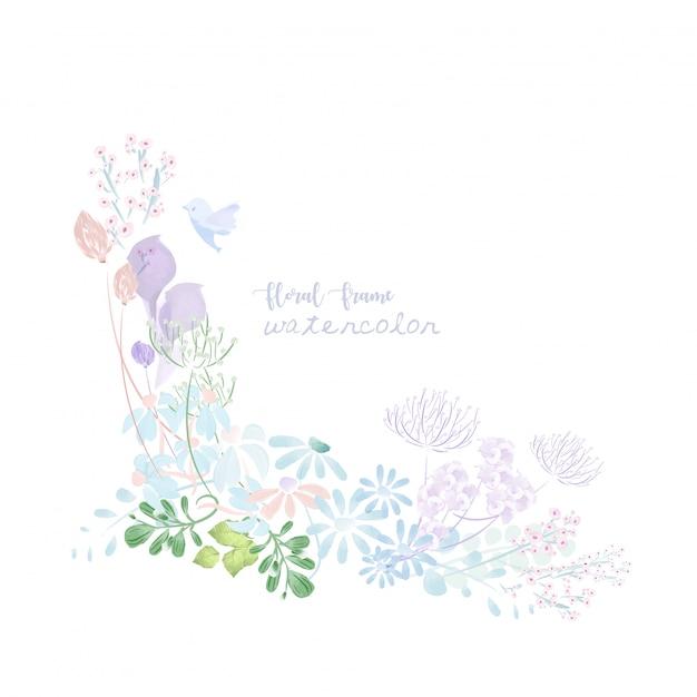 ヴィンテージ水彩画の花のフレーム。 Premiumベクター