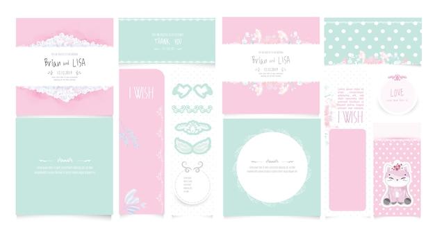水彩風のビンテージ花の結婚式のカードを設定します。 Premiumベクター