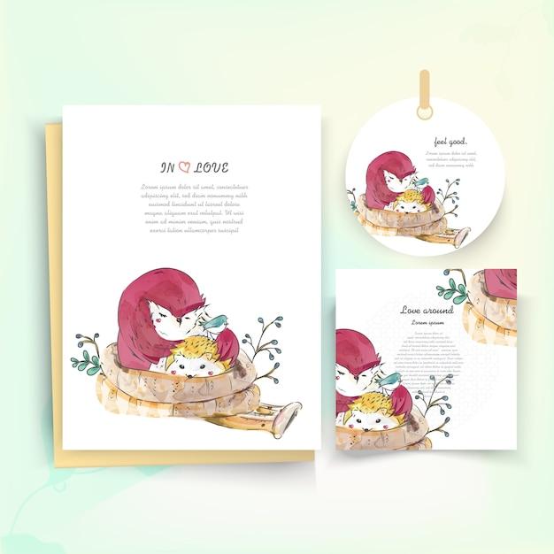 水彩風のヴィンテージの花のかわいい動物カード。 Premiumベクター