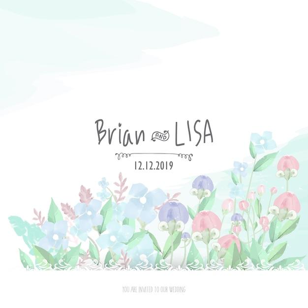水彩風の甘い花の結婚式のカード。 Premiumベクター