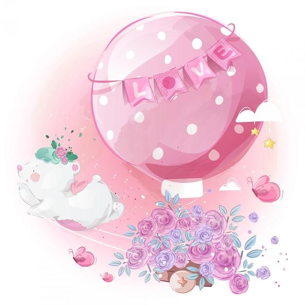 Милый маленький медведь почтальон с красивым цветком шар в яркое небо. Premium векторы