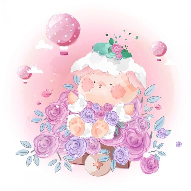 Милая маленькая овечка утонула в цветах в ярком небе. Premium векторы